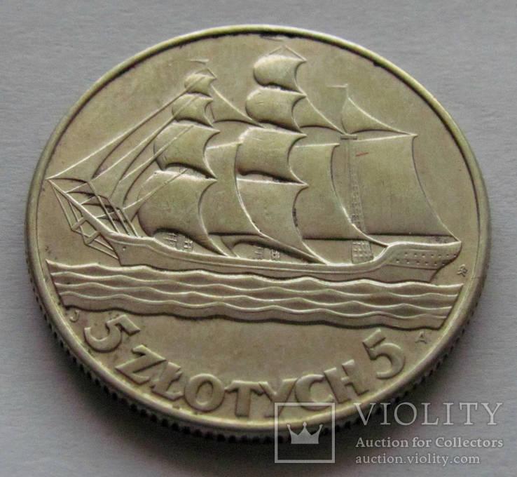 5 злотых кораблик 1936 г.