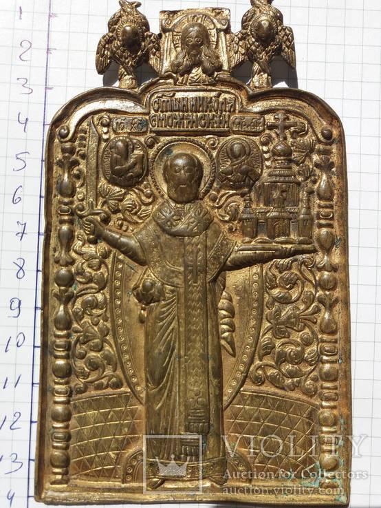Икона: Святитель Никола Можайский 18 век в (позолоте)