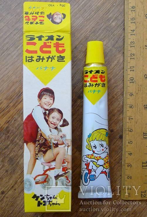 Японская винтажная зубная паста 70-х гг в родной коробке. Зубная паста полный тюбик., фото №2