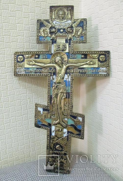 Крест киотный ''Распятие Христово'' 25 см эмаль.