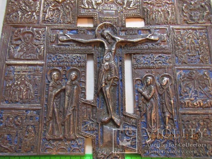 Большое Патриаршие Распятие. бронзовый крест с избранными иконами.