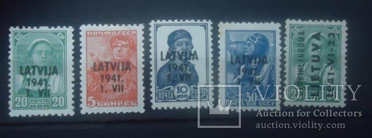 1941 г надпечатка Латвия и Литва  окупация Германией 5 марок