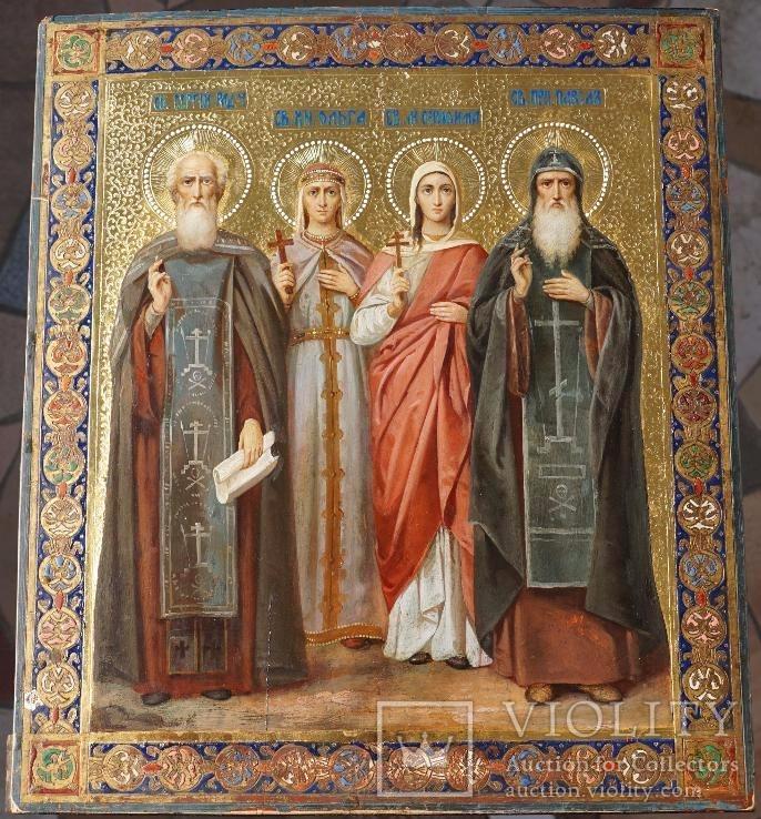 Икона четырех святых 31х35,5 1896 левкас