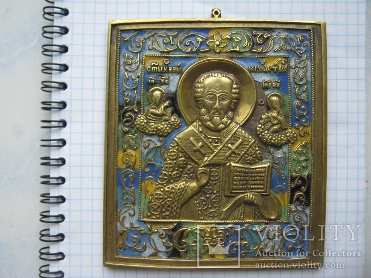 Икона Святой Николай (6 эмалей)
