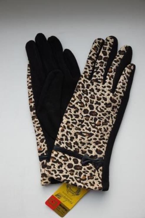 """Женские утепленные перчатки """"леопард""""."""