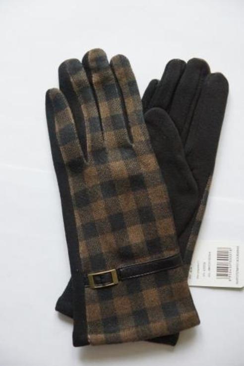 Женские утепленные перчатки, клетка.