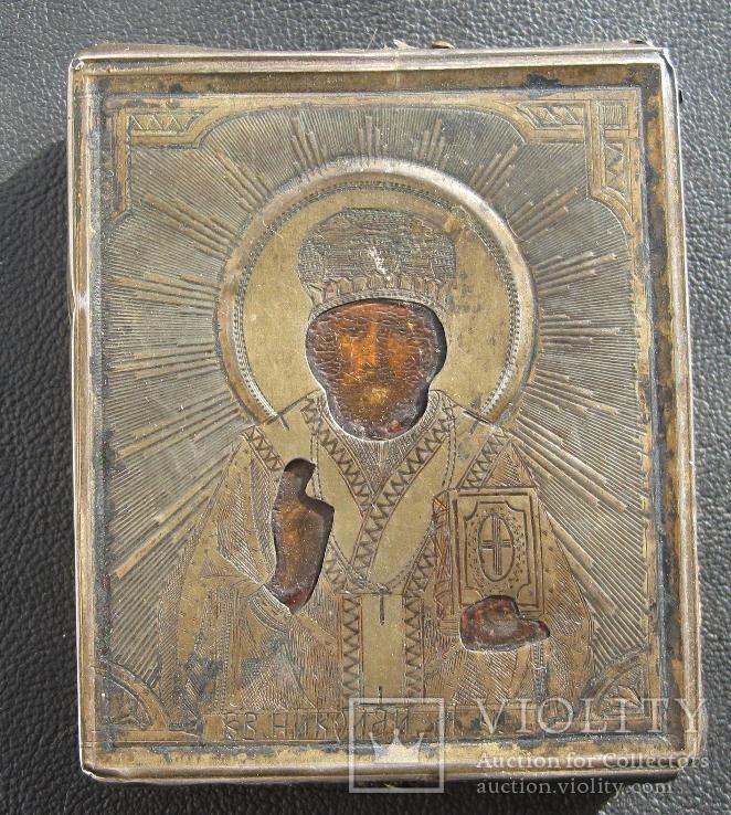 Икона Святой Николай. Серебро 84 проба. 1890 года