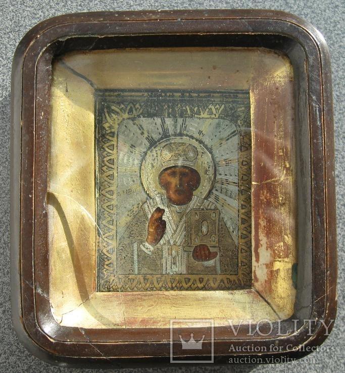 Икона Святой Николай в киоте. Серебро 84 проба. 1888 года