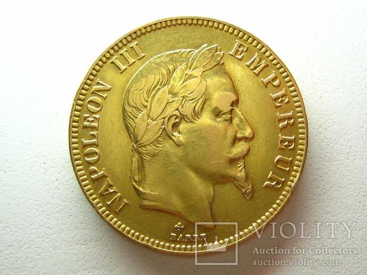 100 франков 1869 г. Наполеон в венке М.Д.В. Страбург