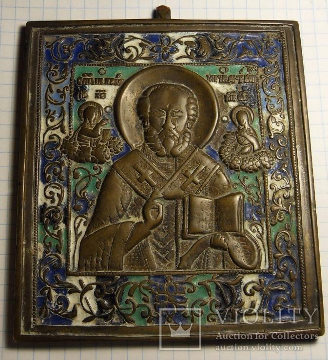 Икона Святой Николай (5 эмалей)