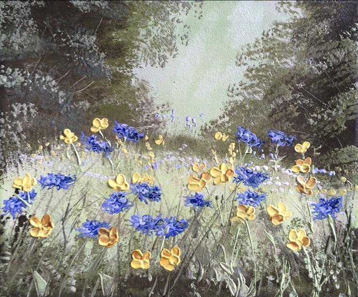 Картина Цветы на поляне, 25х30 см. живопись на холсте, оригинал, с подписью