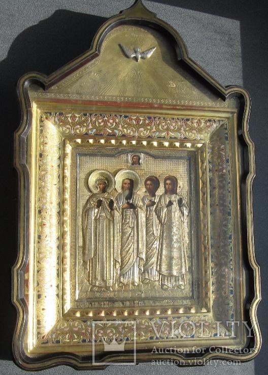 Серебряная икона с четырьмя святыми + киот. 84 проба. 40х58 см.