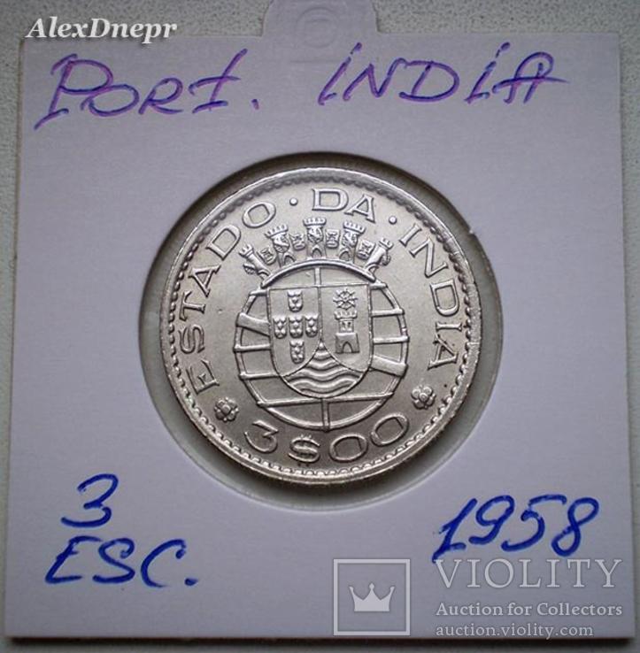 Португальская Индия, 3 эскудо 1958 (нечастая)