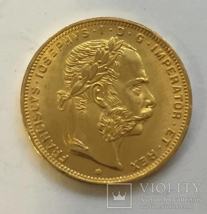 8 флоринов 20 франков 1892 год Австро-Венгрия золото 6,45 грамм 900`