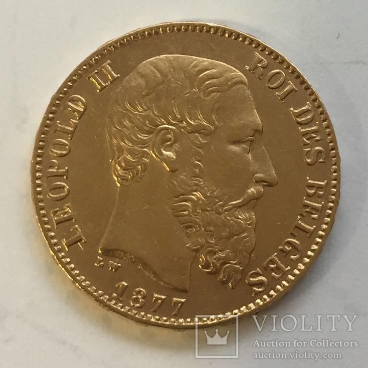 20 франков 1877 года БЕЛЬГИЯ золото 6,45 грамм 900`