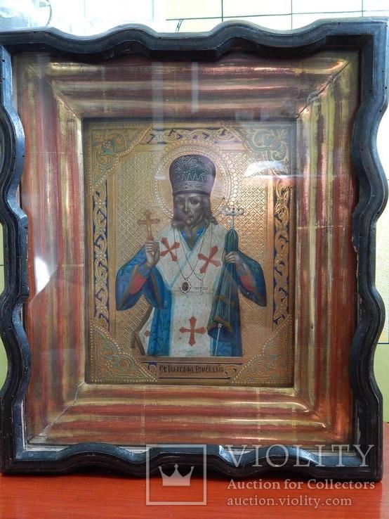 Икона Иоасаф Белгородский в киоте