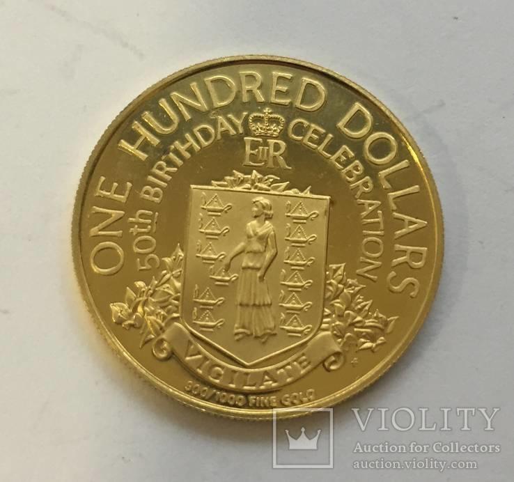 100 $ 1976 год БРИТАНСКИЕ ВИРДЖИНСКИЕ ОСТРОВА золото 7,26 грамм 900`
