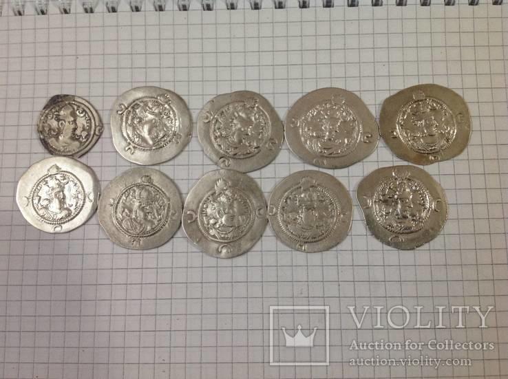 Сасаниды Хосров 1, 10 монет одним лотом.