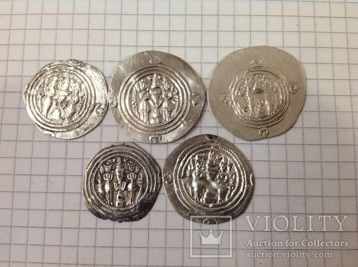 Сасаниды Хосров 2. 5 монет одним лотом