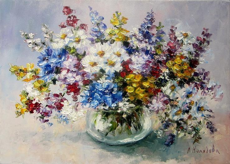 Полевые цветы 25х35 авторская картина