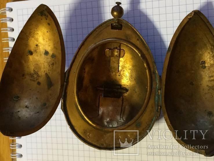 Пасхальное яйцо ХВ Христос Воскрес рамка для иконы фотографии латунь, фото №9