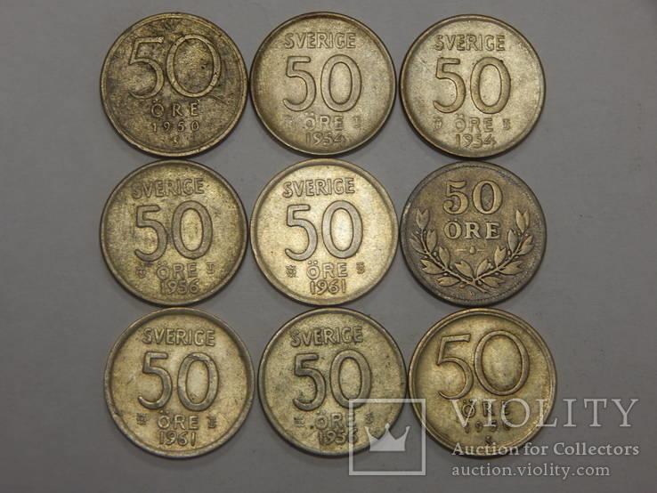 9 монет по 50 оре, Швеция
