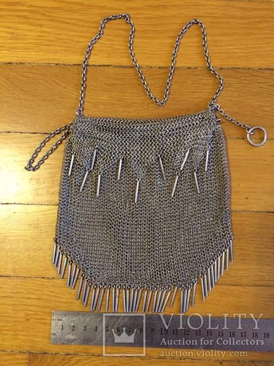Театральная дамская сумочка кальчужка серебро 84 проба 319 грамм, фото №4