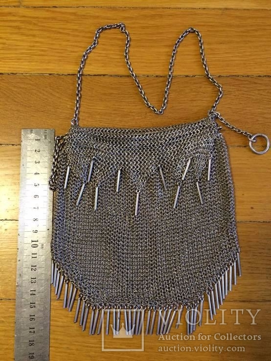 Театральная дамская сумочка кальчужка серебро 84 проба 319 грамм, фото №6