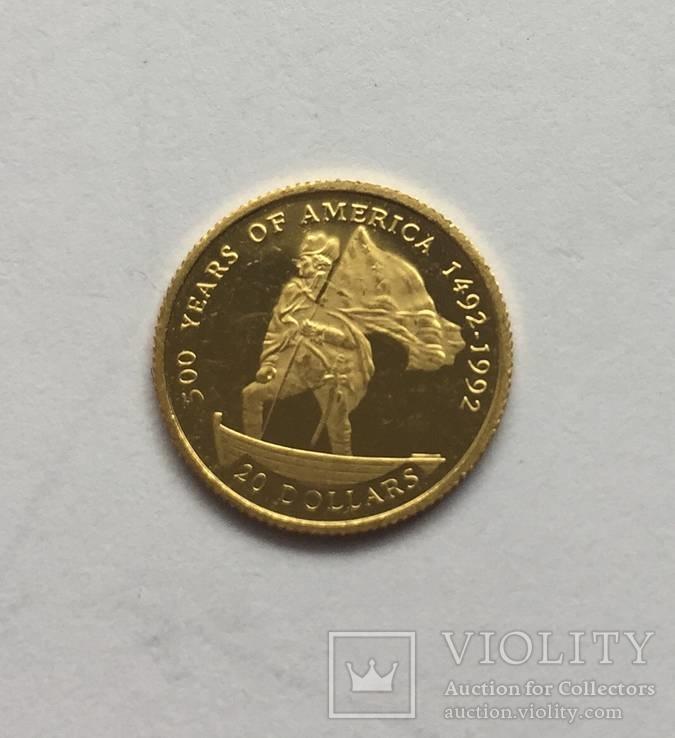 20 $ 1995 год ОСТРОВА КУКА золото 1,24 грамм 999,9`