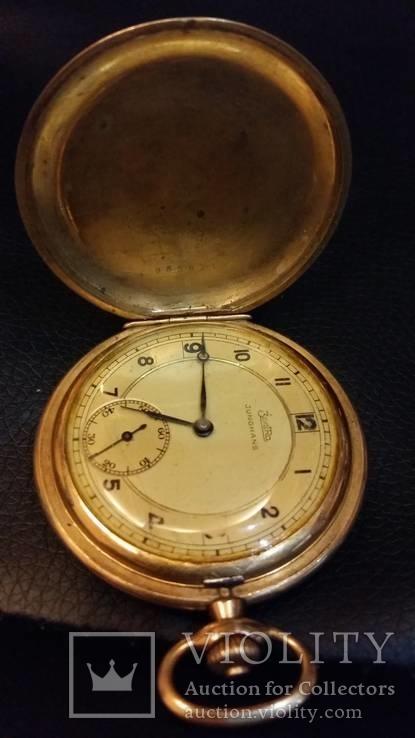 Часы Junghans-Zentra позолота на ходу три крышки