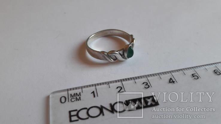 Кольцо 875 проба серебро. Салатовый камень., фото №3