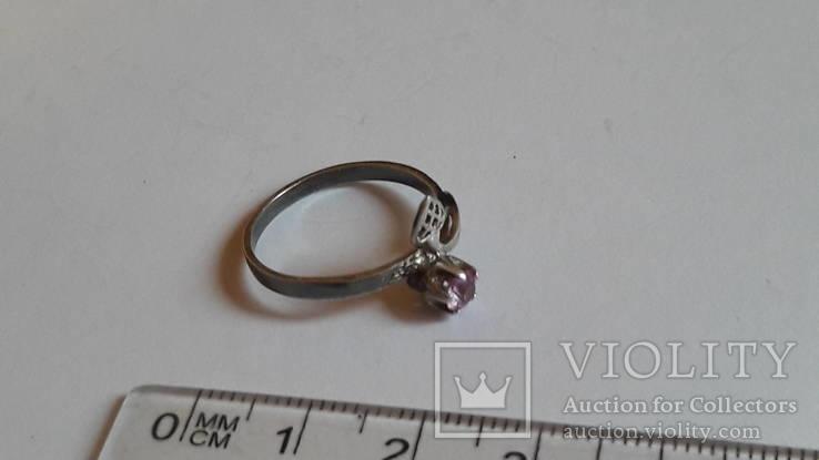 Кольцо 875 проба серебро. Розовый камень. СССР, фото №3