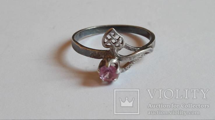 Кольцо 875 проба серебро. Розовый камень. СССР, фото №4