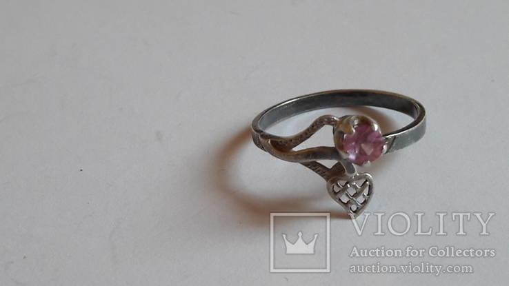 Кольцо 875 проба серебро. Розовый камень. СССР, фото №5
