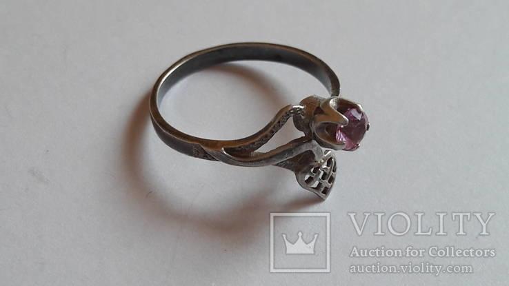 Кольцо 875 проба серебро. Розовый камень. СССР, фото №7