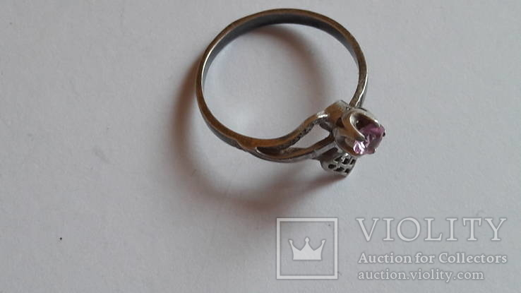 Кольцо 875 проба серебро. Розовый камень. СССР, фото №8