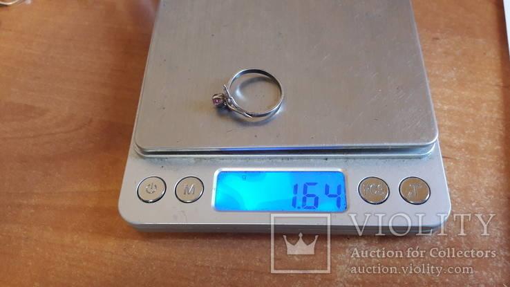 Кольцо 875 проба серебро. Розовый камень. СССР, фото №12