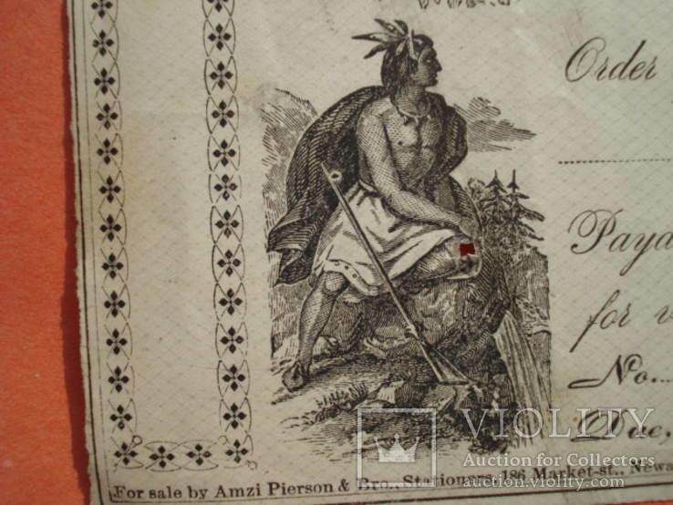 США чек 1876 год на 138,00$ индеец