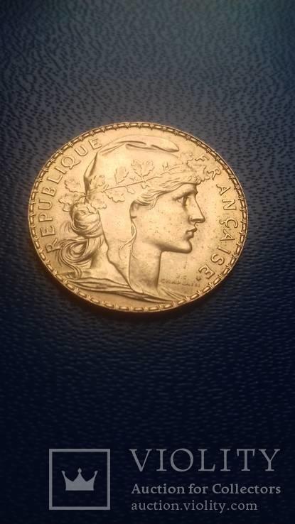 Золото. 20 франков 1913 г. Марианна. Петух. Франция.