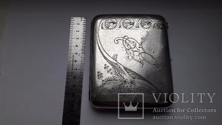 Портсигар серебро 84 проба, фото №5