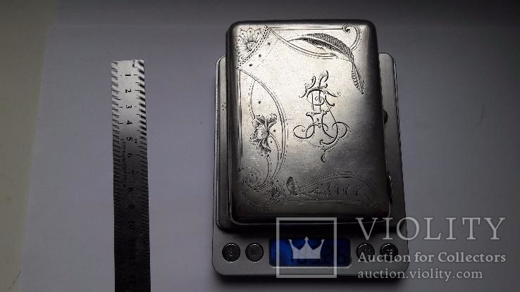 Портсигар серебро 84 проба, фото №2