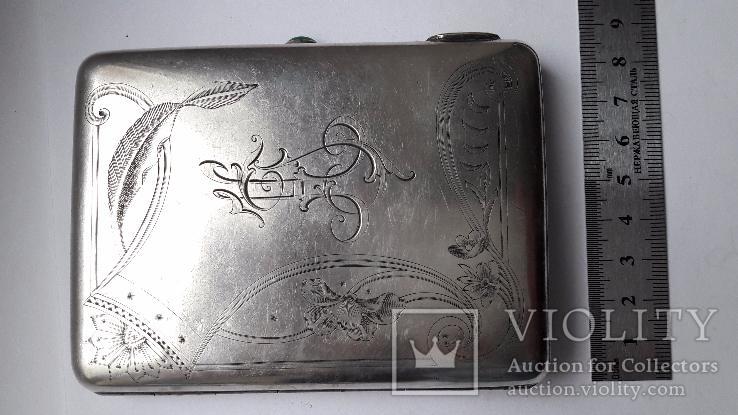 Портсигар серебро 84 проба, фото №9