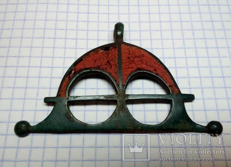 Привеска-лунница , Киевская культура, III-IVв, бронза, эмаль.
