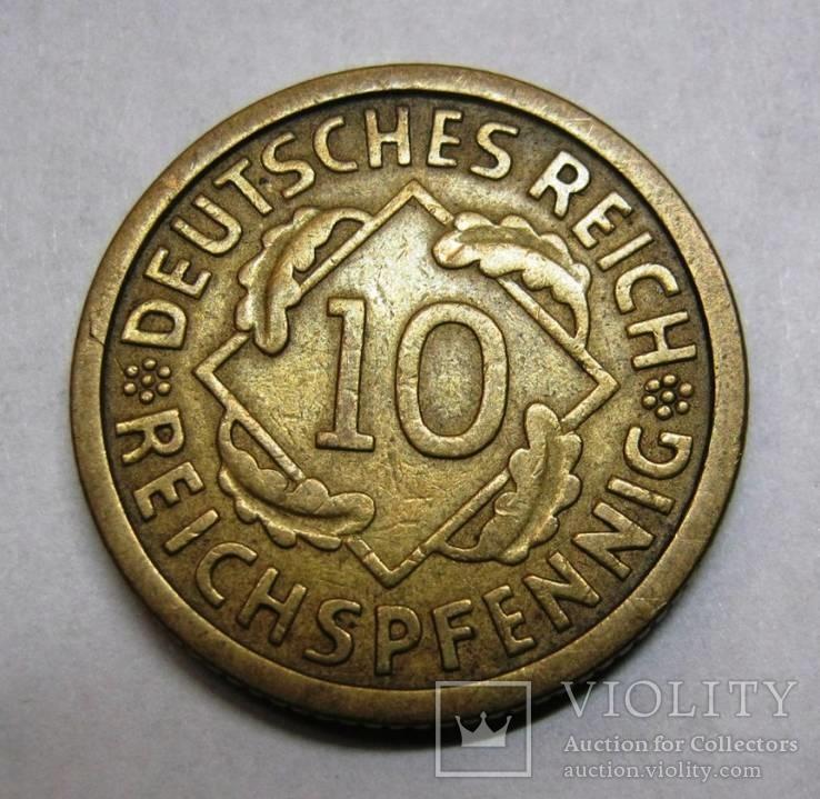 10 рейхспфенингов 1925 г А., фото №3