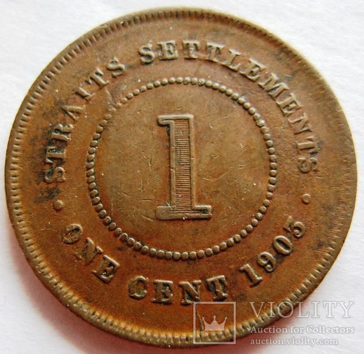 Стрейт Сеттлемент, 1 пенни 1903, Эдвард VII, фото №3