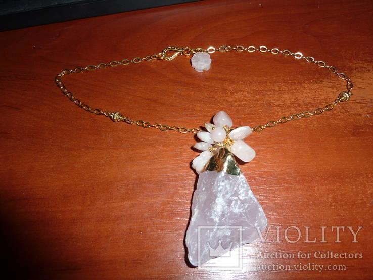 Ожерелье с *диким* розовым кварцем