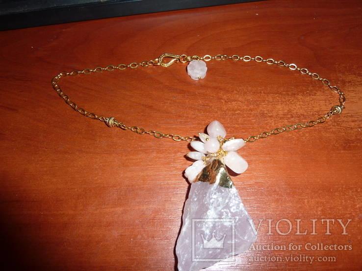 Ожерелье с *диким* розовым кварцем, фото №3
