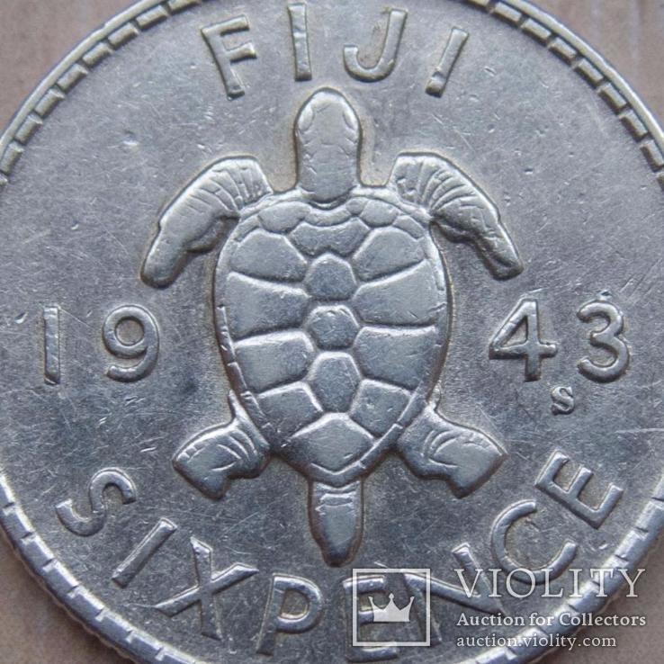 Британское Фиджи 6 пенсов 1943 S