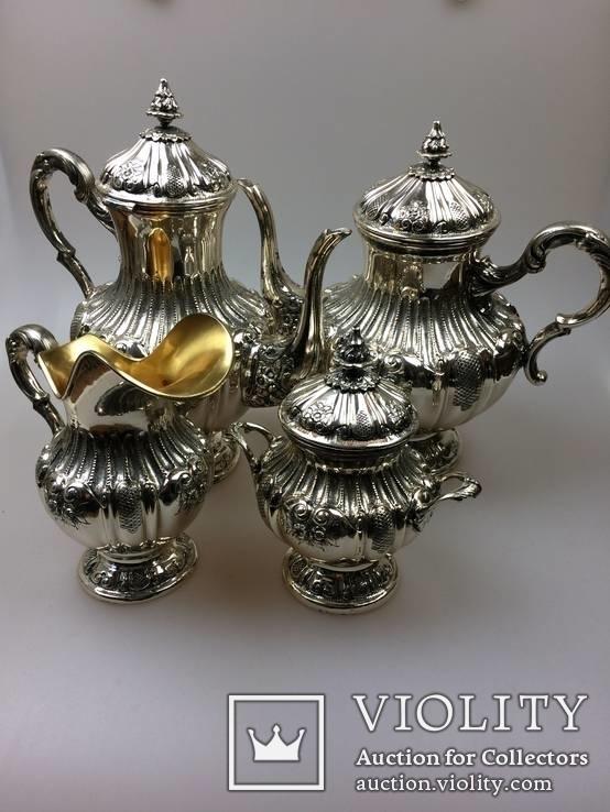 Срібний чайно-кофейний набір 4-предмети 925пр. -2945грм.