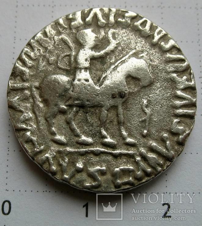 Индо-скифы, тетрадрахма Азеса ІІ, зеркальная легенда